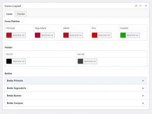 Tela da configurações de cores e layout